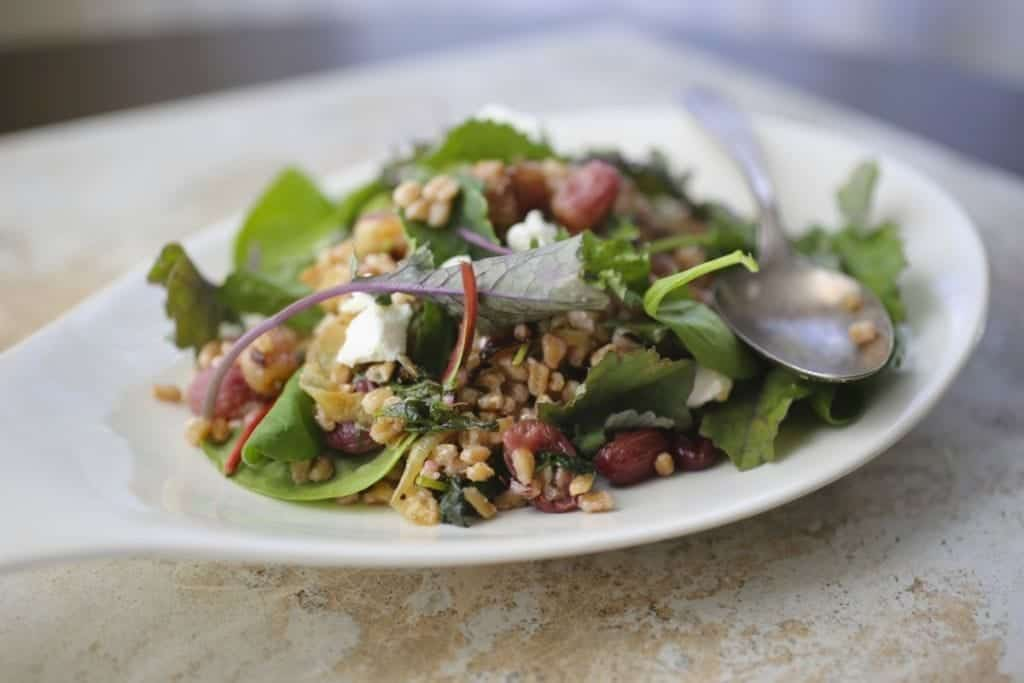 Thanksgiving recipes: Farro Salad with Roasted Grapes and Baby Kale