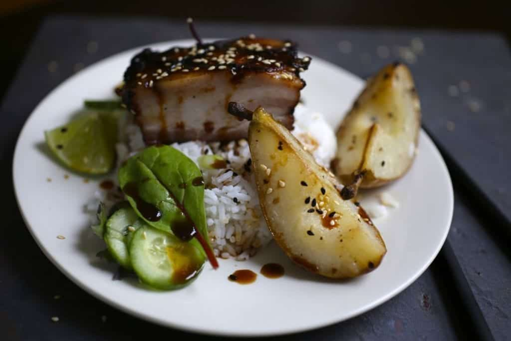Crispy Pork Belly with Sesame Roasted Pears
