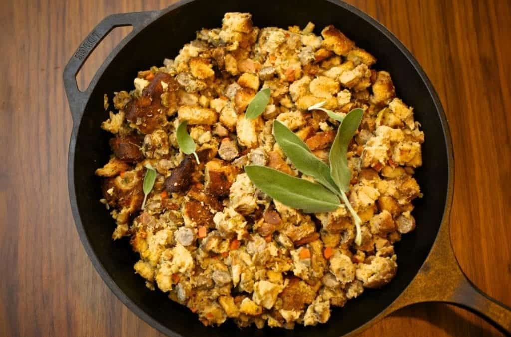 Bread Pudding with Sausage, Apples and Sage
