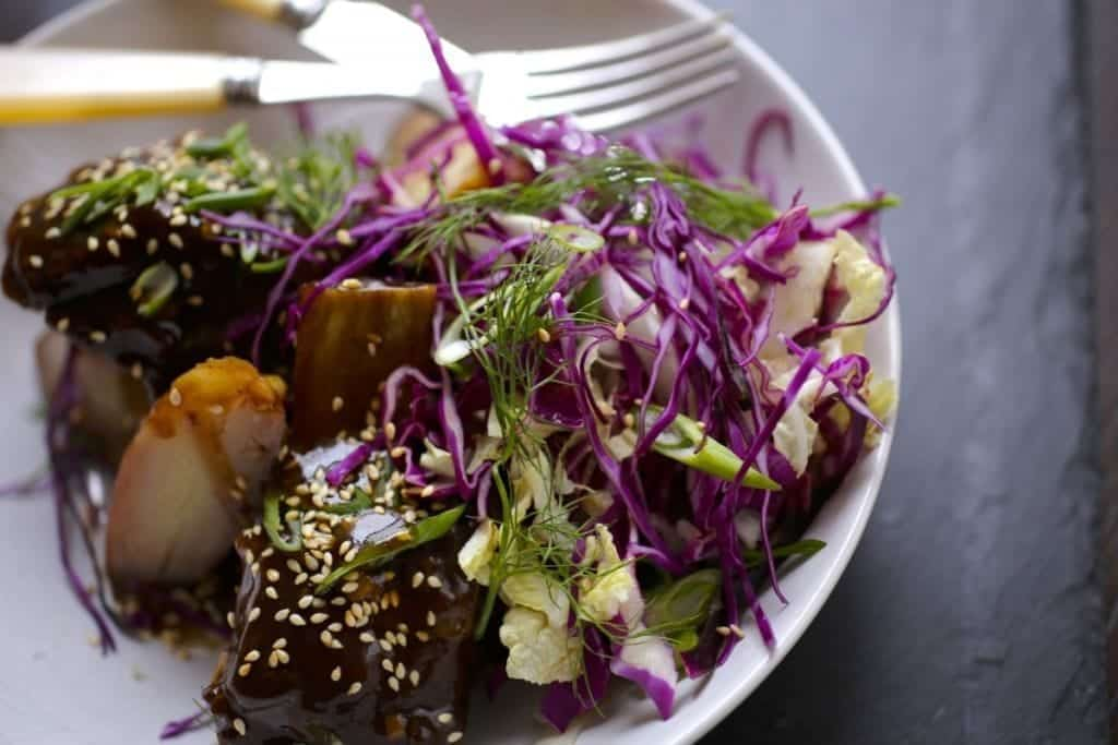 Braised Short Ribs with Asian Cabbage and Fennel Salad