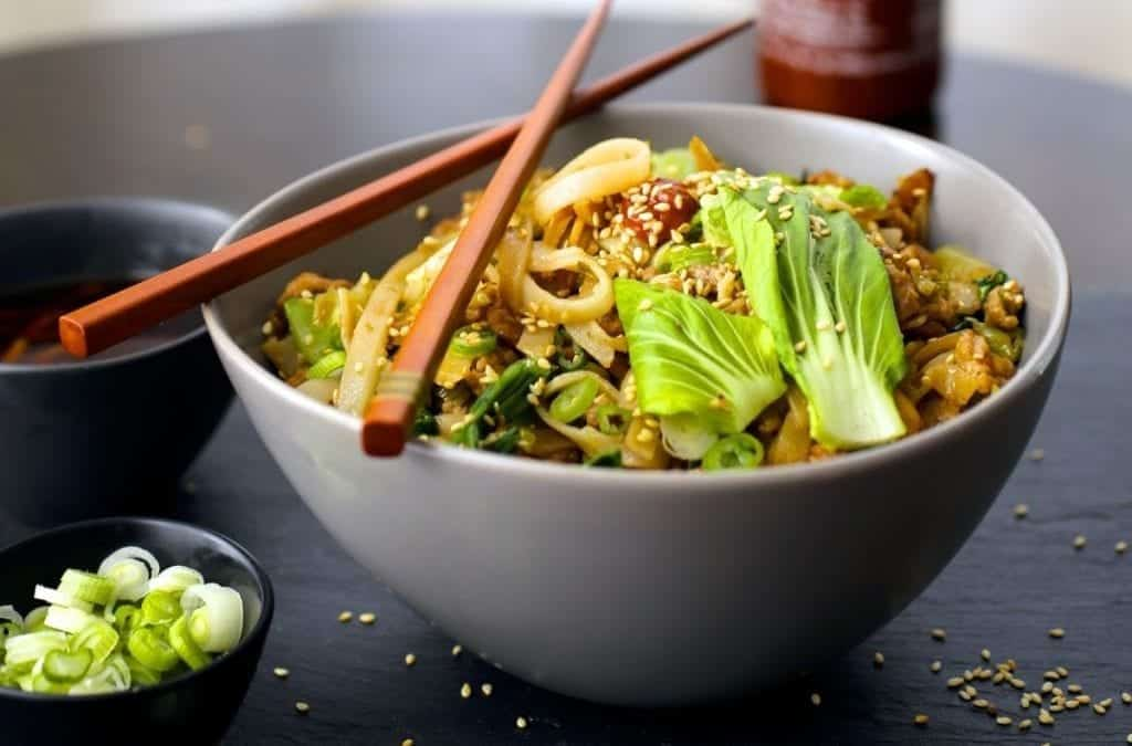 Noodles With Ginger, Pork (or turkey) and Bok Choy