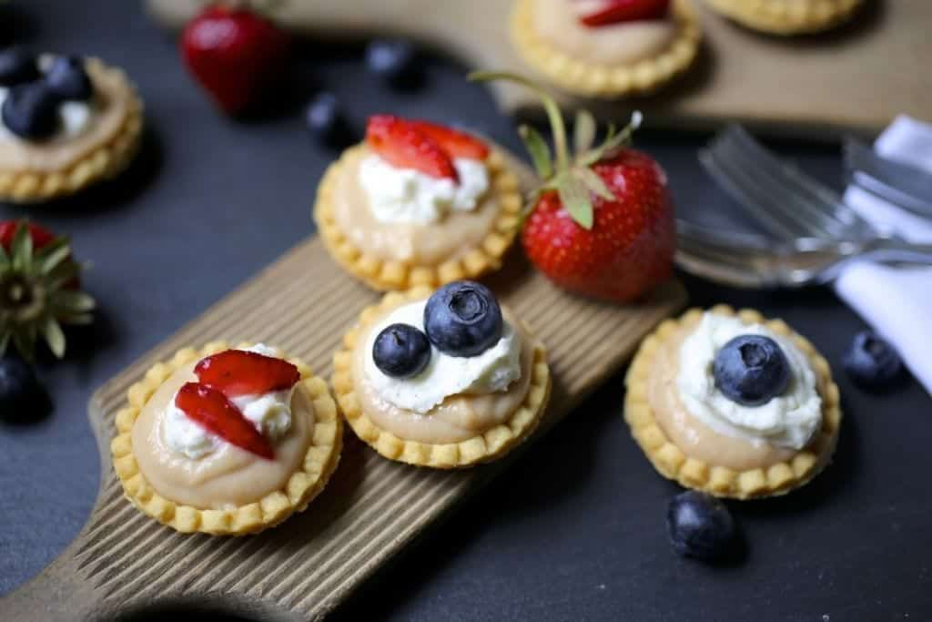 Rhubarb Curd Tartlets with Mascarpone Cream and Berries