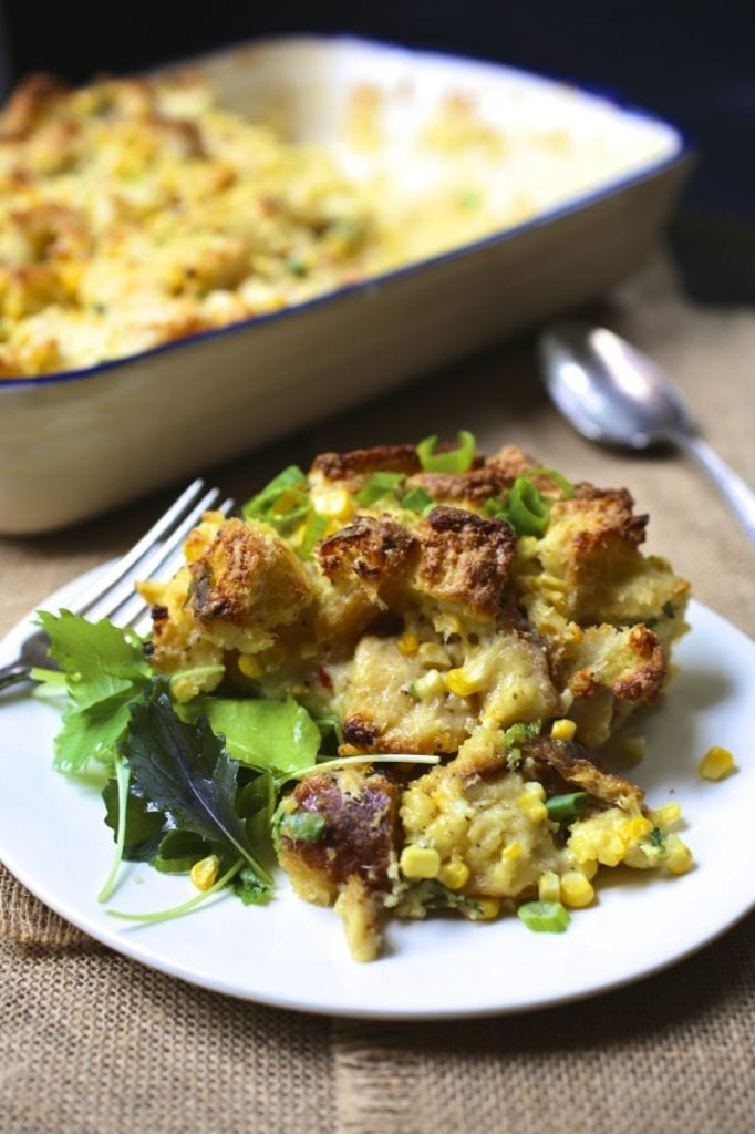 Corn, Scallion and Cheddar Strata