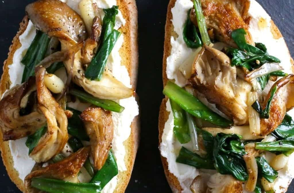 Brown Butter Ramps and Oyster Mushrooms on Ricotta Crostini