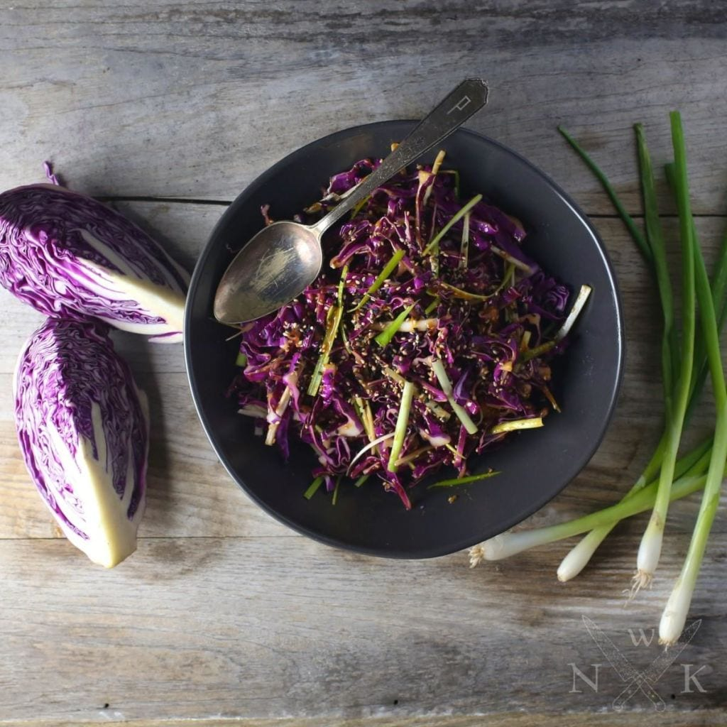 Red Cabbage Salad with Spicy Miso-Ginger Dressing