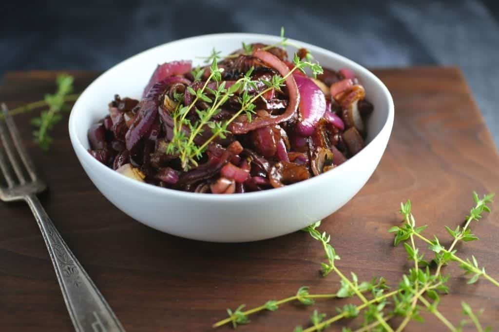 Balsamic Roasted Red Onions with Thyme