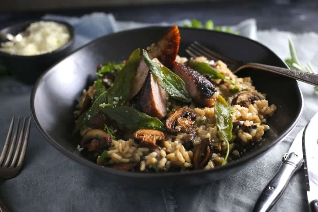Creamy Mushroom Risotto with Crispy Sage (and Sausage)
