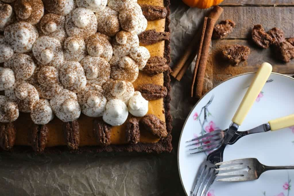Bourbon Pumpkin-Mousse Pie with Candied Pecans