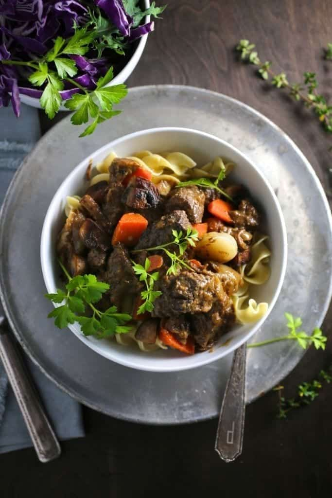 Savory Beef Stew with Mustard and Brandy