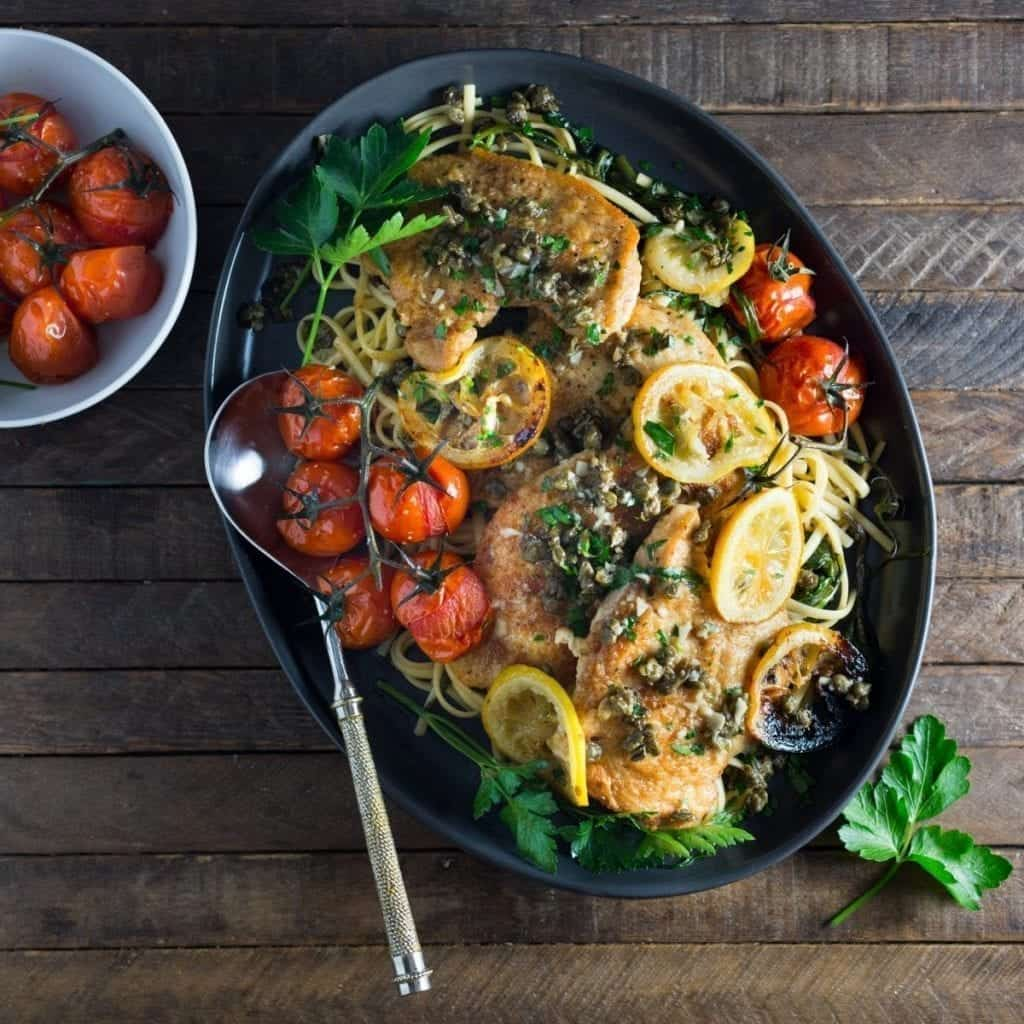 Chicken Piccata with Fried Capers & Roasted Tomatoes and Lemons