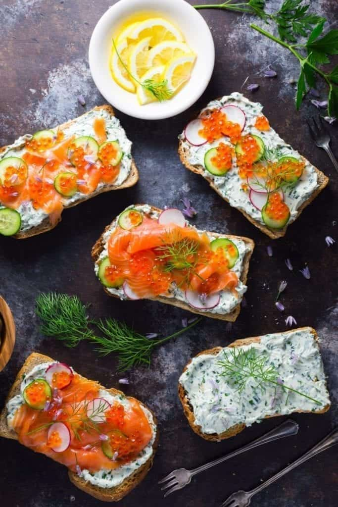 Toasts with Herb Cream Cheese and Smoked Salmon