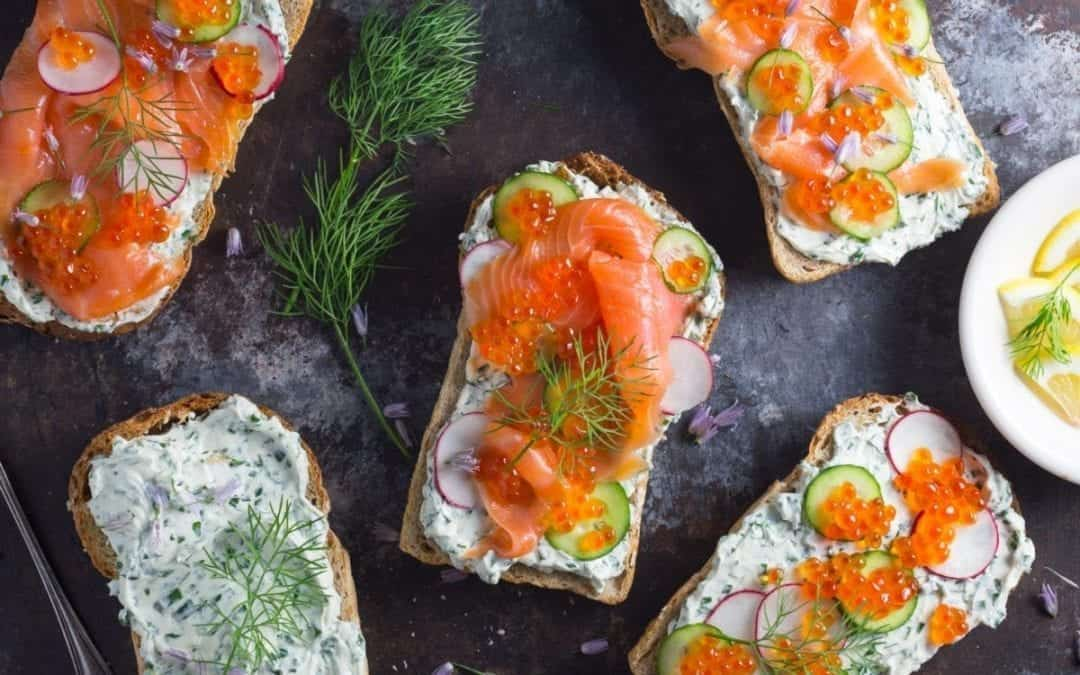 Tartines with Herb Cheese and Smoked Salmon