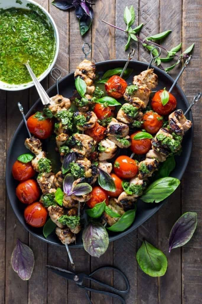 Lemon-Garlic Tomato and Chicken Skewers with Basil Chimichurri