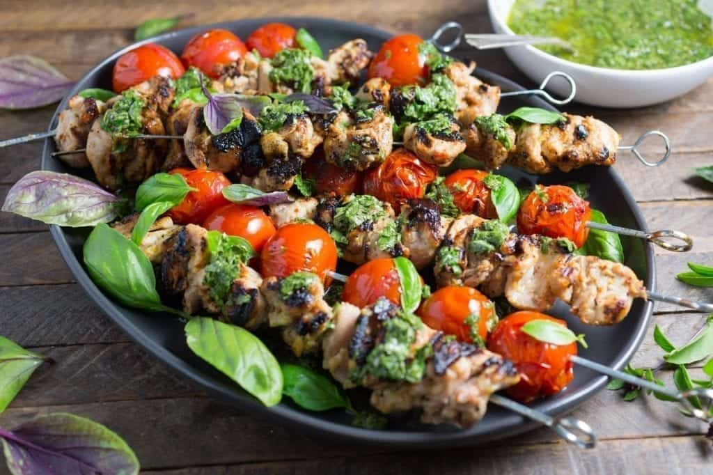 Lemon-Garlic Chicken and Tomato Kebabs with Basil Chimichurri