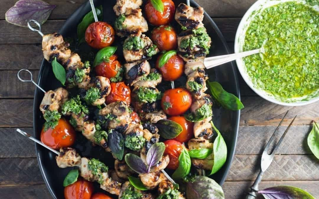 Lemon-Garlic Chicken and Tomato Skewers with Basil Chimichurri