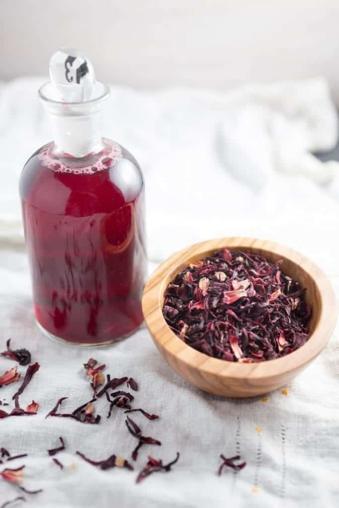 Dried hibiscus flowers and hibiscus syrup