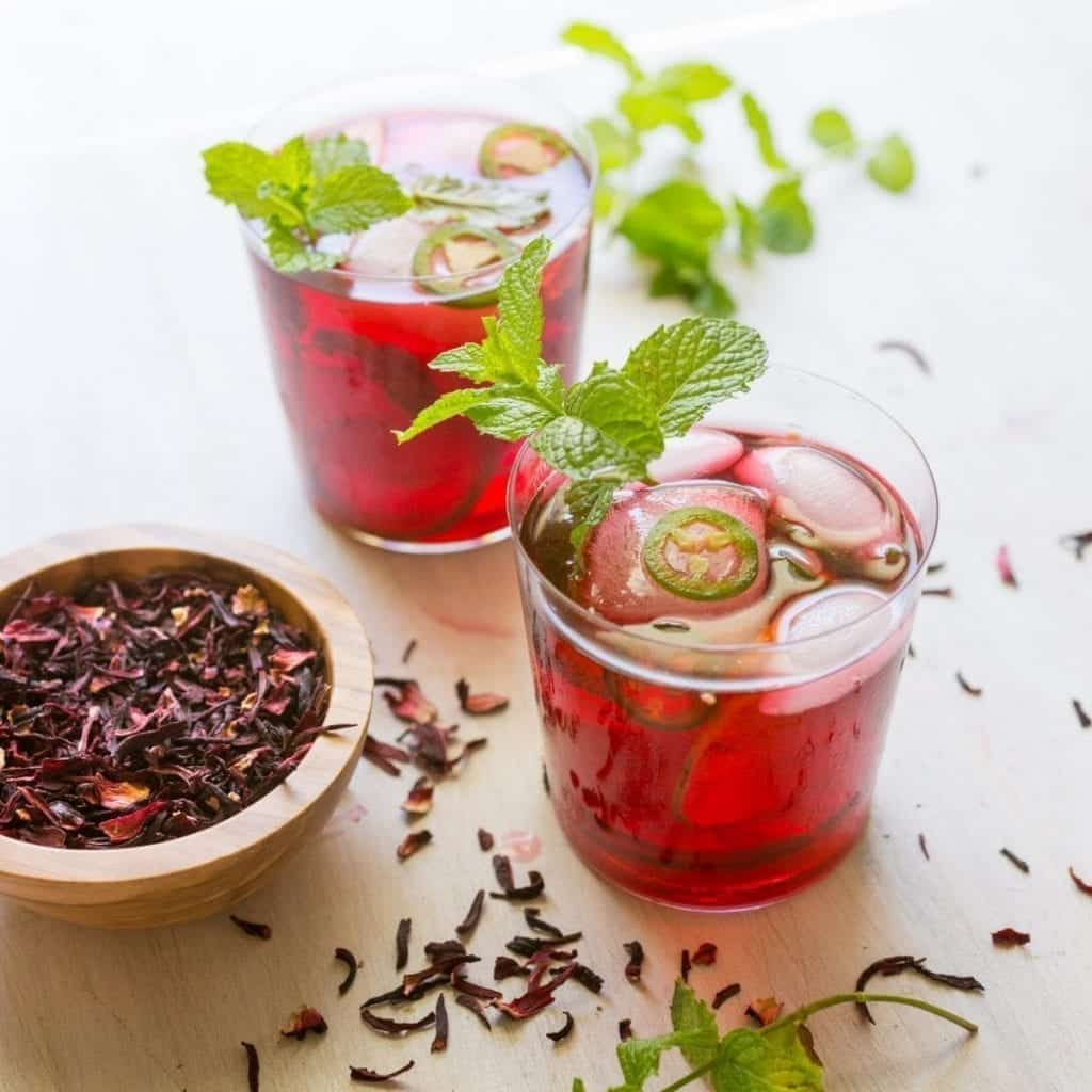 Hibiscus Cocktail with Mint and Jalapeño