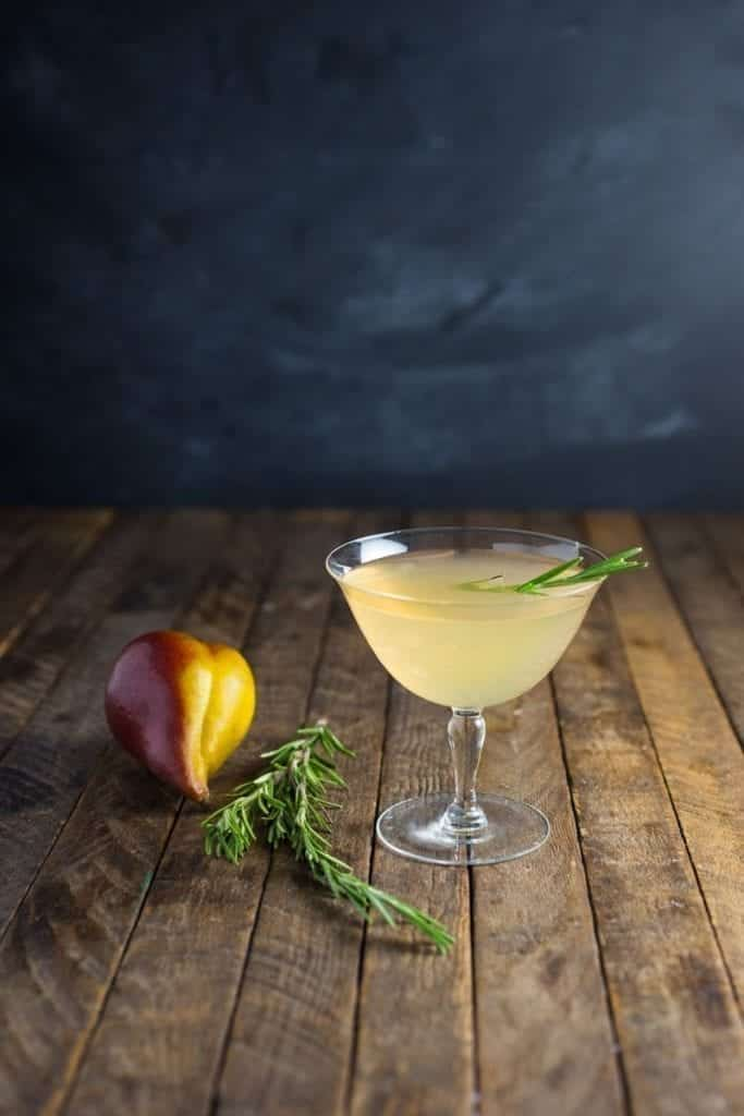 Spiced Poached Pear Cocktail with Rosemary