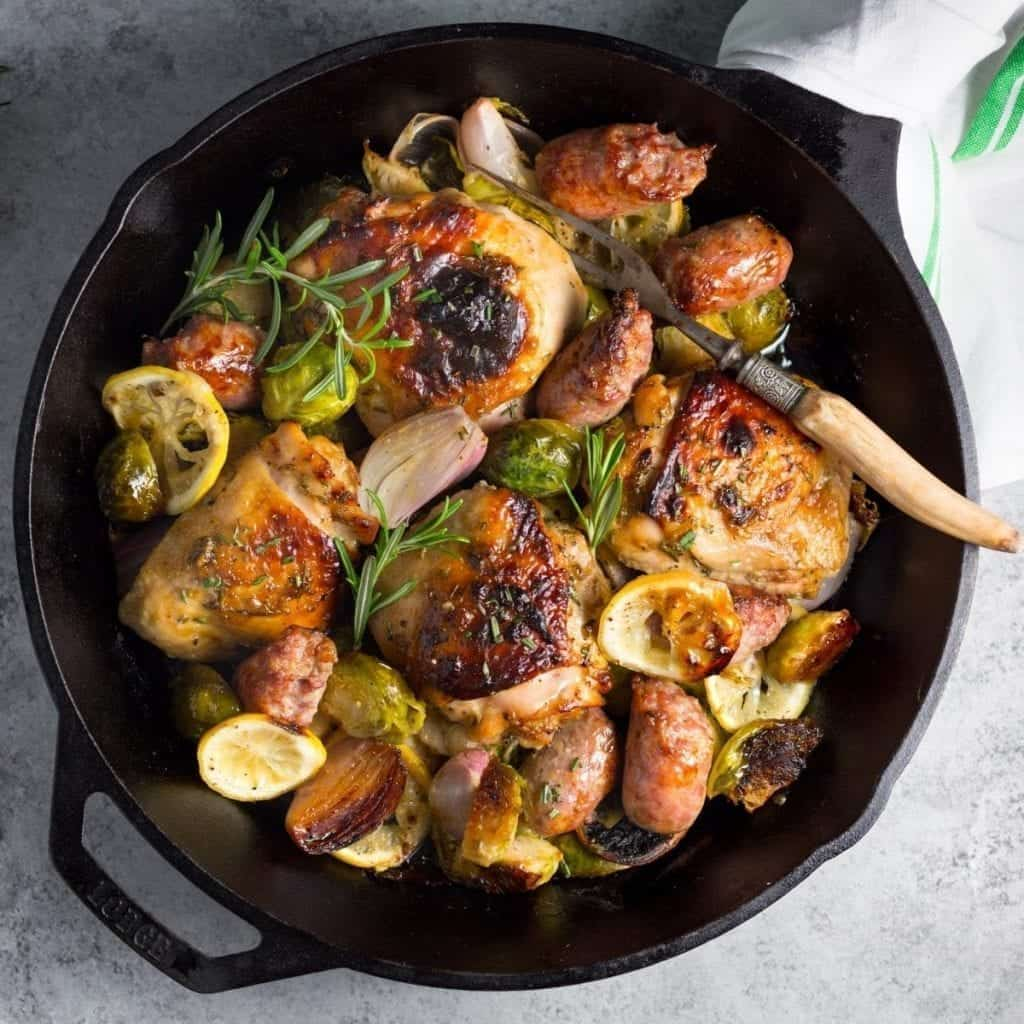 One-Pan Baked Chicken, Sausage and Brussels Sprouts