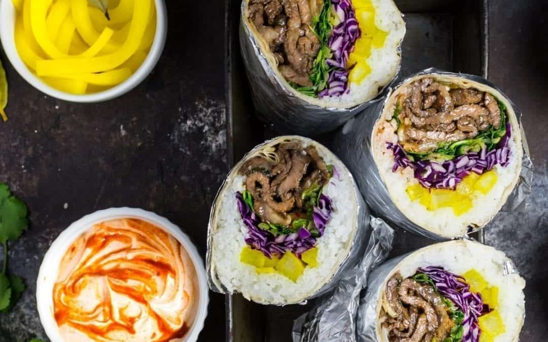 Korean Bulgogi Burritos with Danmuji (Yellow Pickled Daikon Radish)