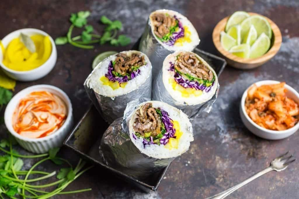 Korean Bulgogi Burritos with Radish Pickle