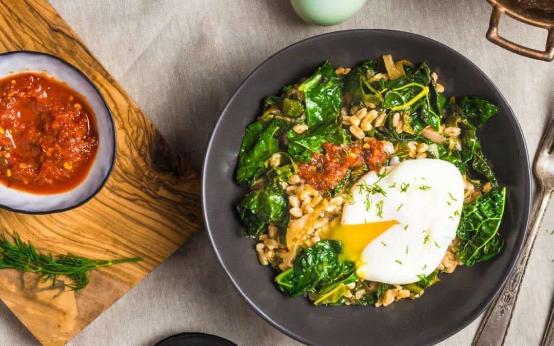 Stir Fried Farro with Garlicky Kale and Poached Egg