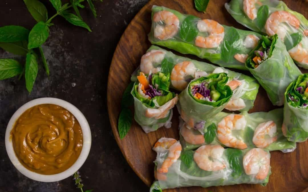 Vietnamese Summer Rolls with Peanut Dipping Sauce