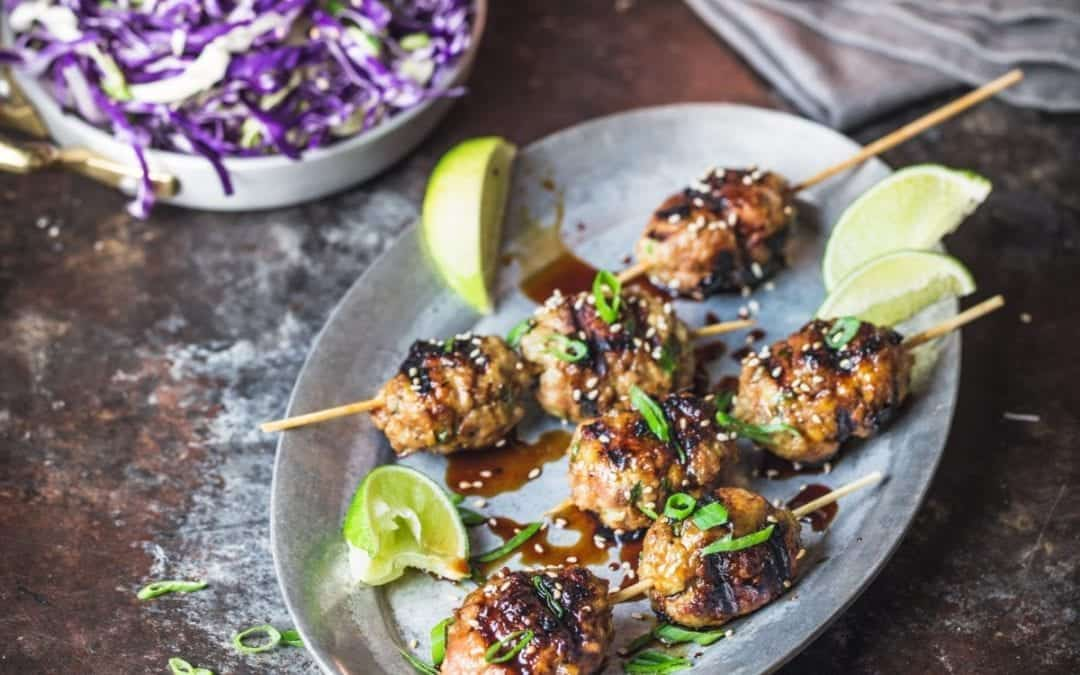 Japanese-style Chicken (or Turkey) Meatballs (Tsukune)