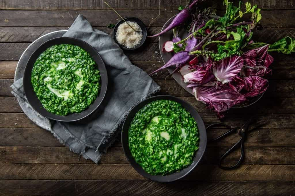Nettle Risotto with Green Garlic and Taleggio