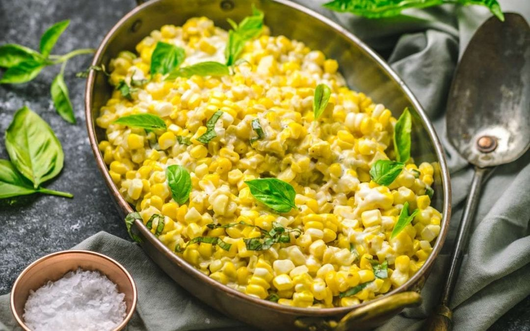 Easy Creamed Corn with Basil