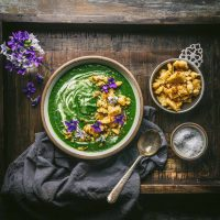 Nettle, Leek and Potato Soup with Garlic-Brown Butter Croutons