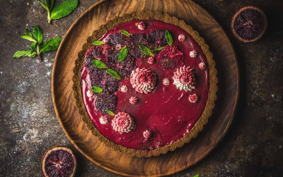 Blood Orange and Hibiscus Curd Tart with a Gingersnap Crust