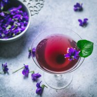 Aviation Cocktail with Homemade Violet Syrup
