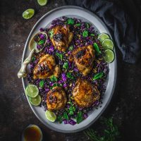 Sticky Lemongrass Chicken Thighs with Black Rice Salad