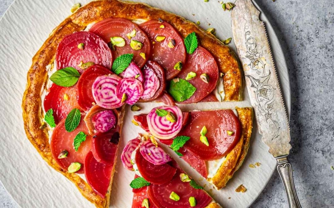 Roasted Beets and Whipped Feta Tart