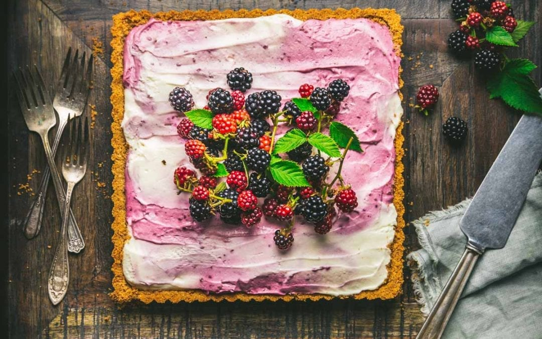 Half-Baked / No-Bake Blackberry-Vanilla Swirl Cheesecake