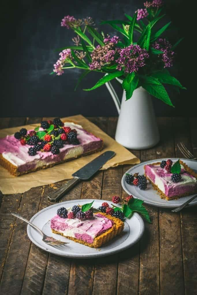 Blackberry and Vanilla Marbled Cheesecake