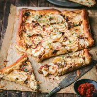 Caramelized Apple, Shallot and Cheddar Tart