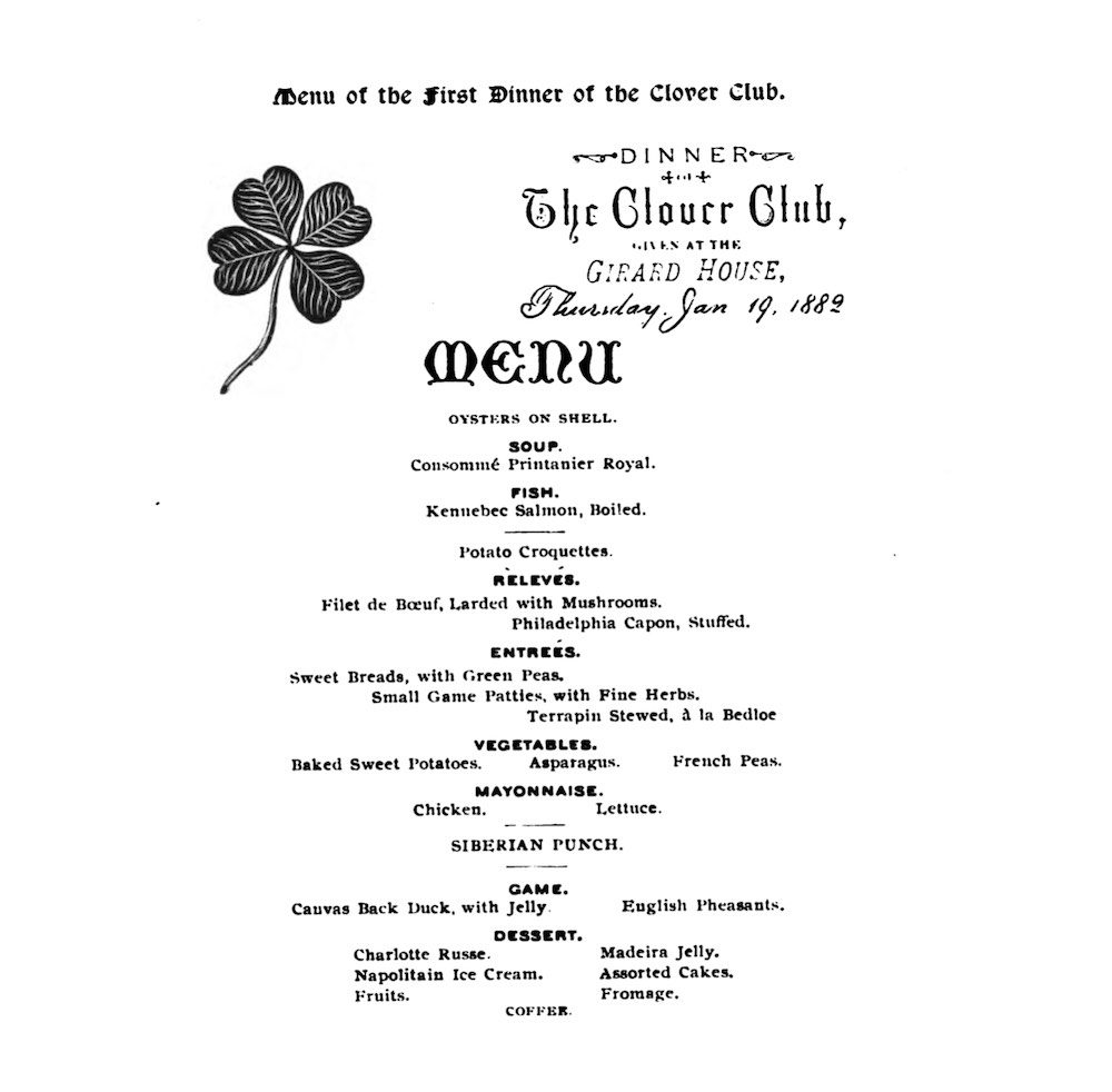 Clover Club original menu